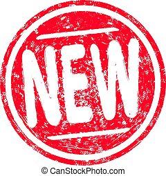 grunge, postzegel, ronde, rubber, nieuw, jouw, rood, design.