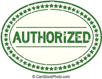 grunge, postzegel, rubber, groene, erkend, achtergrond, zeehondje, ovaal, witte