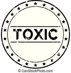 grunge, postzegel, rubber, zwarte achtergrond, zeehondje, vergiftig, woord, witte , ronde
