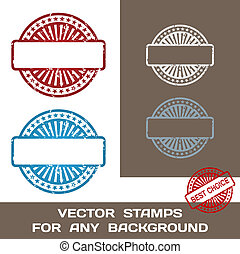 grunge, postzegel, set., illustratie, template., rubber, achtergrond., vector, leeg, enig