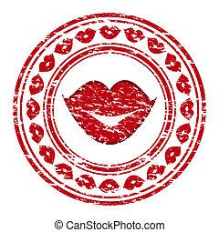 grunge, postzegel, vrijstaand, illustratie, rubber, lippen, vector, achtergrond, wit rood