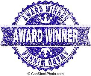grunge, postzegel, winnaar, toewijzen, zeehondje, lint, textured