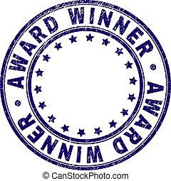 grunge, postzegel, winnaar, toewijzen, zeehondje, ronde, textured
