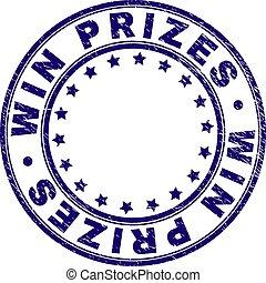 grunge, postzegel, winnen, zeehondje, prijzen, textured, ronde