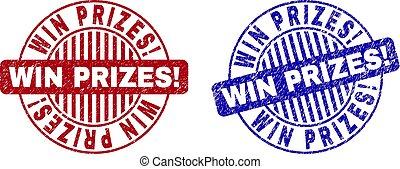 grunge, postzegel, winnen, zegels, textured, ronde, prizes!