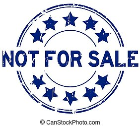 grunge, postzegel, witte achtergrond, blauwe , verkoop, rubberverbinding, niet, ster, pictogram, woord, ronde