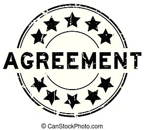 grunge, postzegel, woord, overeenkomst, rubber, zwarte achtergrond, zeehondje, ster, witte , ronde, pictogram