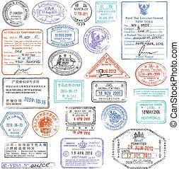 grunge, postzegelverzameling, hoog, paspoort, kwaliteit