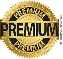Grunge premium guarantee golden sing, vector