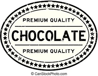 Grunge premium quality chocolate oval rubber seal stamp on...