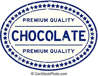 Grunge premium quality chocolate oval rubber seal stamp on white background
