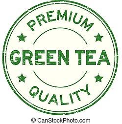 Grunge premium quality green tea round rubber stamp