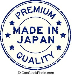 Grunge premium quality made in japan round rubber stamp on white background