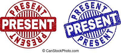 Grunge PRESENT Textured Round Stamps