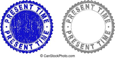 Grunge PRESENT TIME Textured Stamps