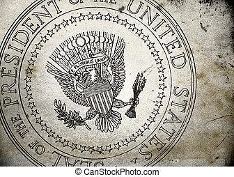 grunge, presidencial, sello, de, el, estados unidos de...