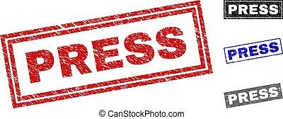 Grunge PRESS Textured Rectangle Stamp Seals