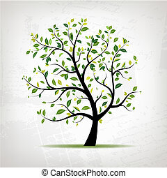 grunge, primavera, albero, disegno, fondo, verde, tuo