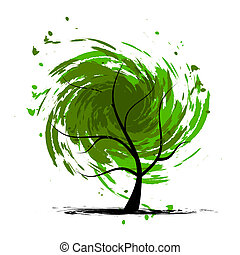 grunge, projektować, drzewo, twój