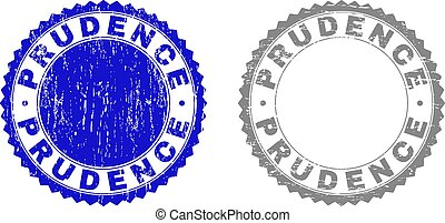 Grunge PRUDENCE stamps isolated on a white background. Rosette seals with grunge texture in blue and grey colors. Vector rubber stamp imitation of PRUDENCE caption inside round rosette.
