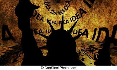 grunge, przeciw, swoboda, idea, tło, statua