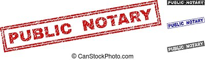 Grunge PUBLIC NOTARY Textured Rectangle Stamps