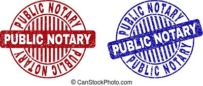 Grunge PUBLIC NOTARY Textured Round Stamp Seals