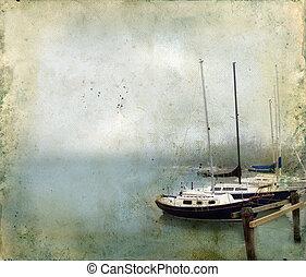 grunge, puerto, atracó, plano de fondo, brumoso, veleros