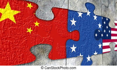 Grunge puzzle with china usa canada eu flags