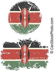 grunge, quadrat, kenianer, vektor, flags., runder , ...