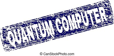 Grunge QUANTUM COMPUTER Framed Rounded Rectangle Stamp