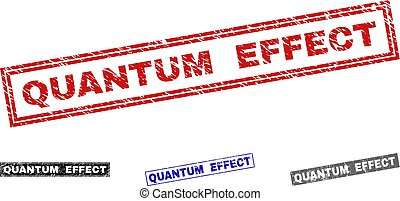 Grunge QUANTUM EFFECT Scratched Rectangle Stamps