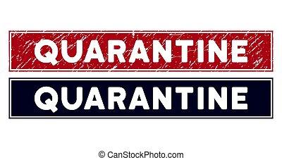 Grunge Quarantine Rectangle Stamp