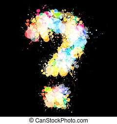 Grunge Question Mark Vector Symbol with Colorful Splashes on Black Background