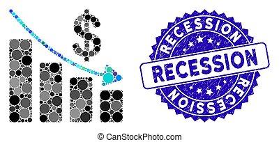 grunge, récession, icône, timbre, mosaïque