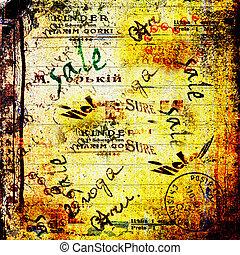grunge, résumé, déchiré, vieux, fond, affiches