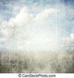 grunge, résumé, fond, textured, nuages