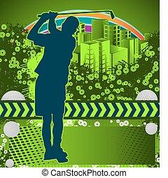 grunge, résumé, golf, affiche