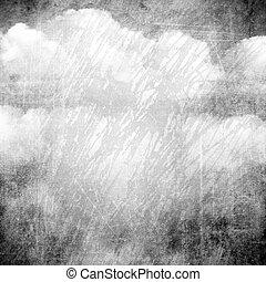 grunge, résumé, nuages, fond