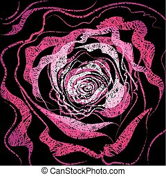 grunge, rózsa, ábra