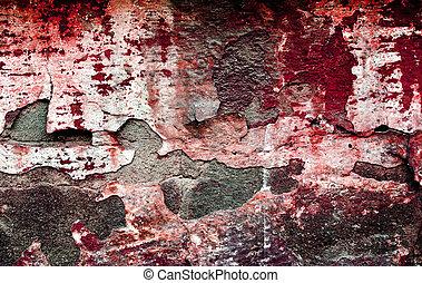 grunge, röd, brickwall