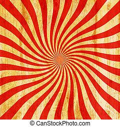 grunge, röd, och, apelsin, årgång, sunburst, virvla runt, snurra, bakgrund, struktur