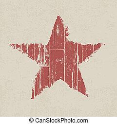 grunge, röd, star., vektor, eps10.