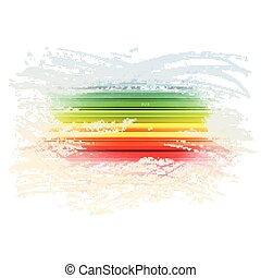 Grunge rainbow brush stroke with stripes on white background