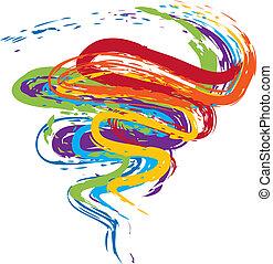 Grunge Rainbow - Rainbow color grunge brush strokes on white...