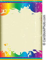 Grunge rainbow flag - A poster with a large scratched frame...