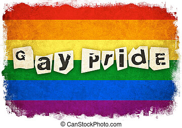 Grunge Rainbow flag illustration of gay and lesbian with text