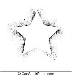 grunge, ramme, stjerne
