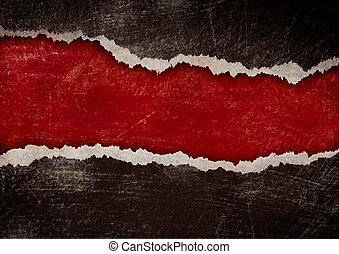 grunge, rasgado, bordes, papel, calabozo, rojo