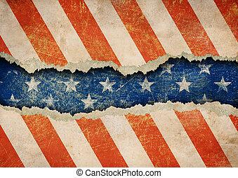 grunge, rasgado, papel, bandera de los e.e.u.u, patrón